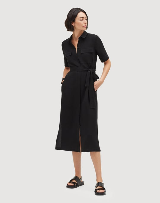 Plus-Size Finesse Crepe Short Sleeve Midi Doha Shirtdress