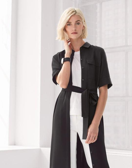 Short Sleeve Midi Doha Shirtdress and Cropped Mercer Flare Jean