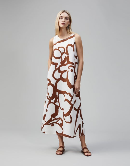 Linear Hydrangea Print Ross Maxi Dress