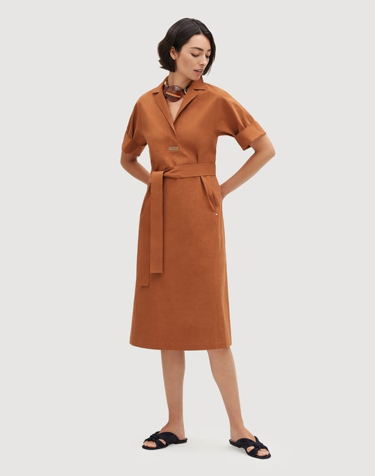 Petite Italian Bi-Stretch Pima Cotton Maryellen Shirtdress