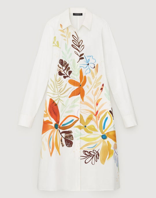 Fiore Print Cotton Porto Dress