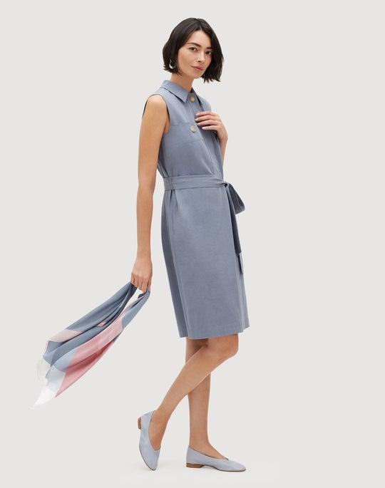 Petite Italian Bi-Stretch Pima Cotton Padma Shirtdress