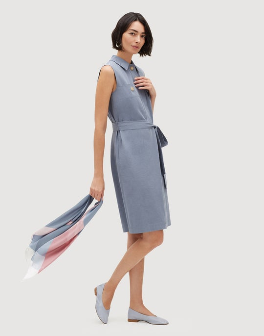 Petite Italian Bi-Stretch Pima Cotton Padma Shirtdress