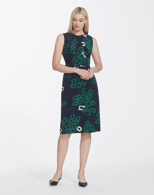 Petite Falling Link Print Silk Jude Dress