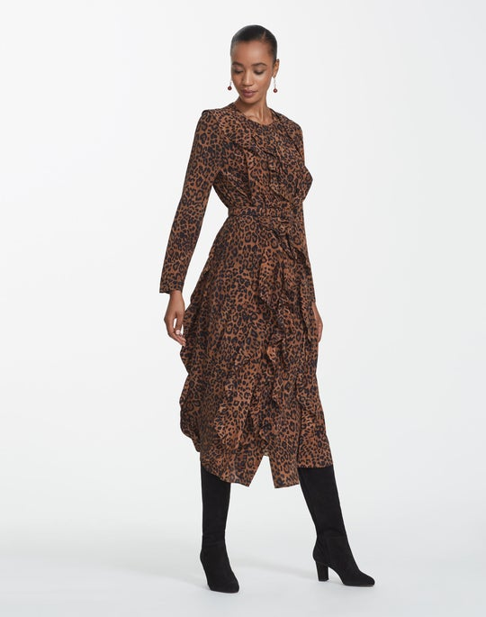 Leopard Print Silk Alexandra Dress