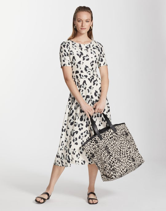 Plus-Size Painted Leopard Print Silk Amanda Dress