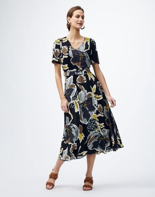 Petite Poppy Print Silk Roland Dress
