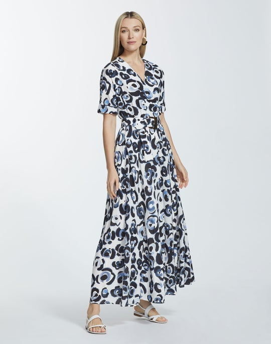 Painterly Animal Print Silk Agneta Dress