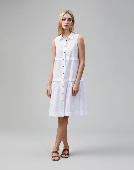 Micro Grid Cotton Eyelet Serena Shirtdress