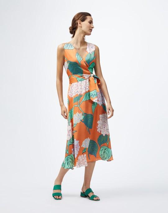 Italian Blooming Hydrangea Print Knoell Dress