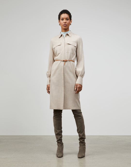 Italian Mélange Wool Mullen Duster Shirtdress