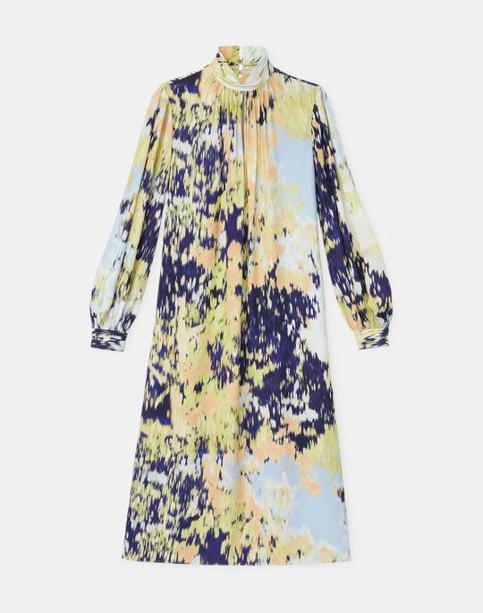 Giana Dress In Autumn Haze Print Fluid Viscose Crepe