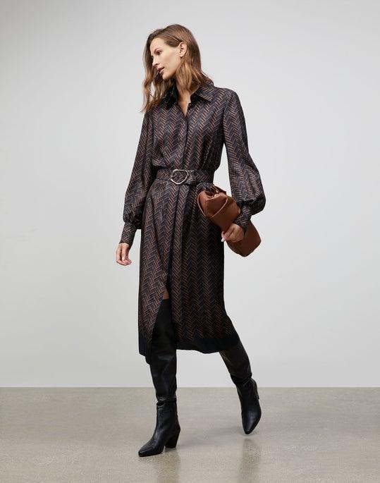 Plus-Size Chevron Icon Print Soraya Dress