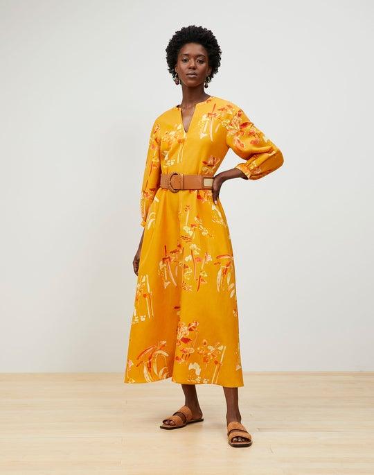Leona Dress In Oasis Print Coastal Cloth