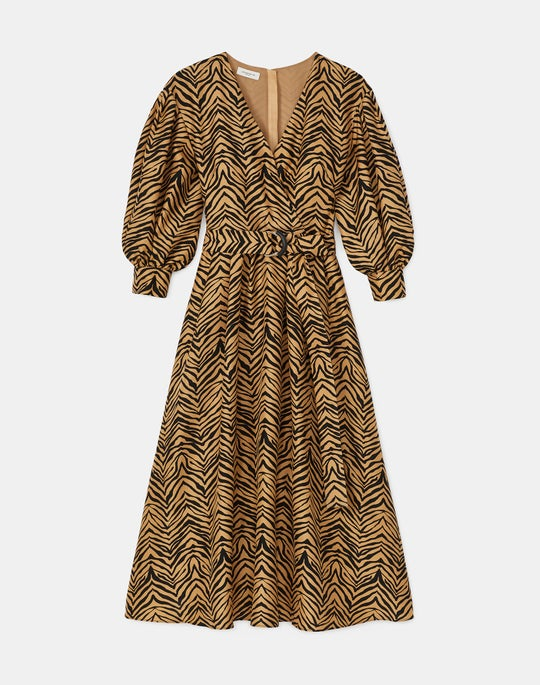 Faye Dress In Mini Zevron Print Shantung