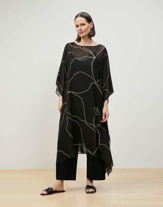 Maeve Kaftan In Winding Leaf Print Silk Georgette