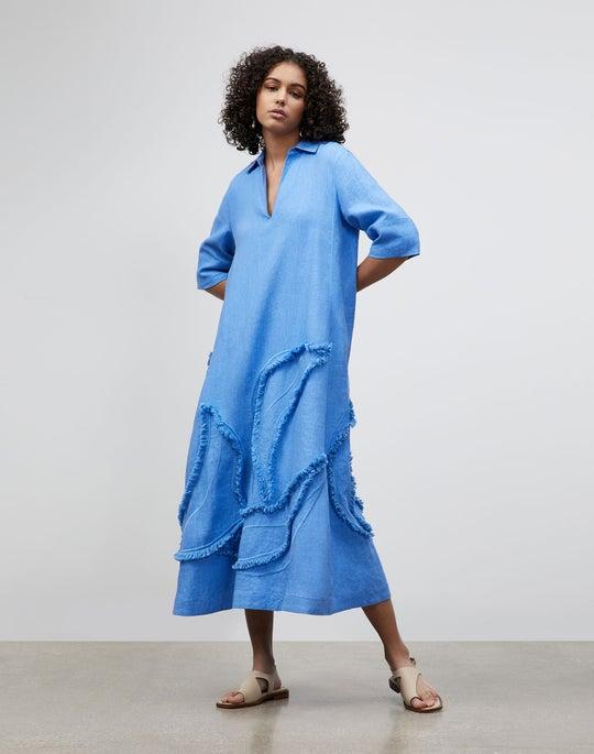 Petite Sera Dress In Eyelash Embellished Summer Linen