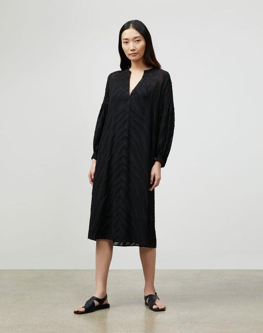 Maylin Dress In Refined Italian Zevron Jacquard