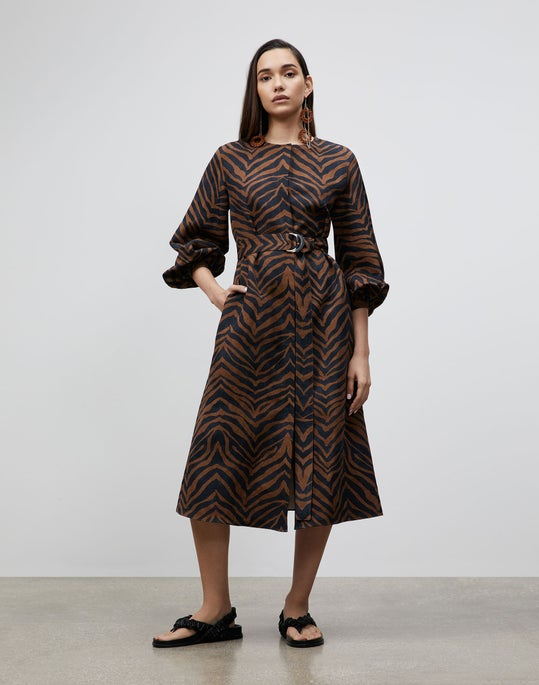 Petite Louisa Dress In Zevron Print Coastal Cloth