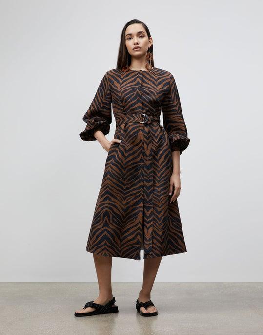 Plus-Size Louisa Dress In Zevron Print Coastal Cloth