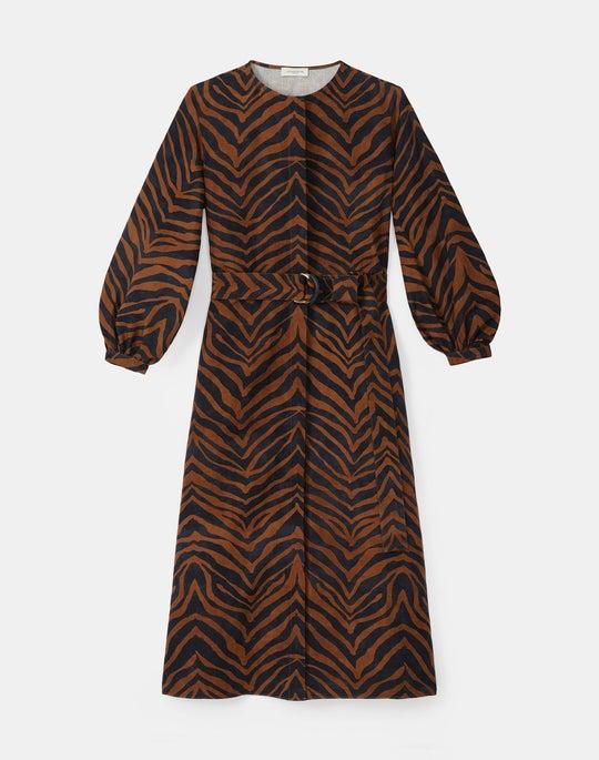 Louisa Dress In Zevron Print Coastal Cloth