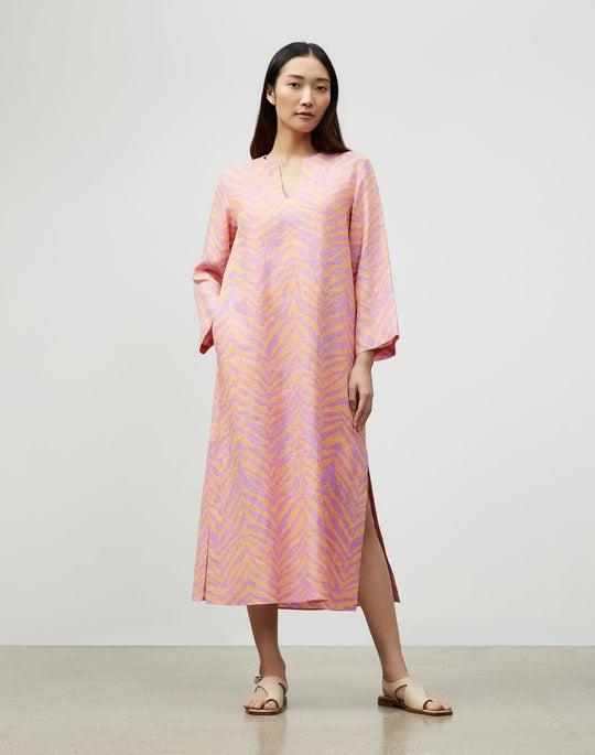 Renata Dress In Zevron Print Linen