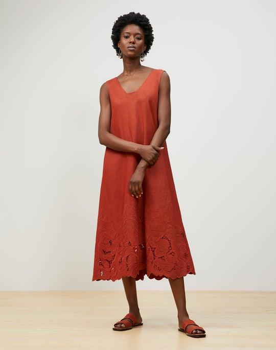Harper Dress In Embroidered Lavish Linen