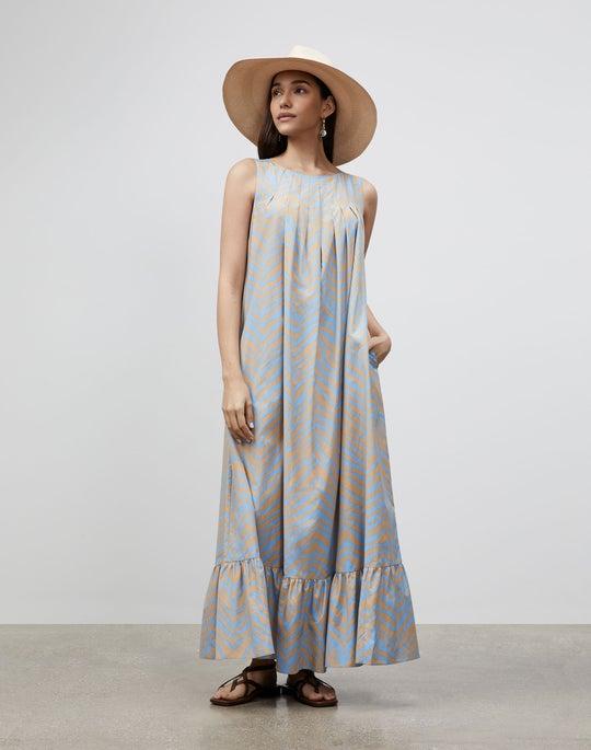 Petite Halle Dress In Zevron Print Habotai