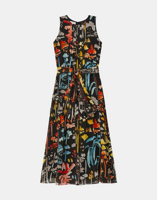 Nia Midi Dress In Blooming Eden Print Silk