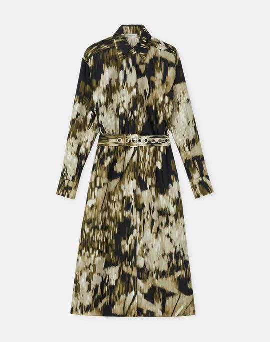 Plus-Size Livia Shirtdress In Daydream Print Wool-Silk Twill