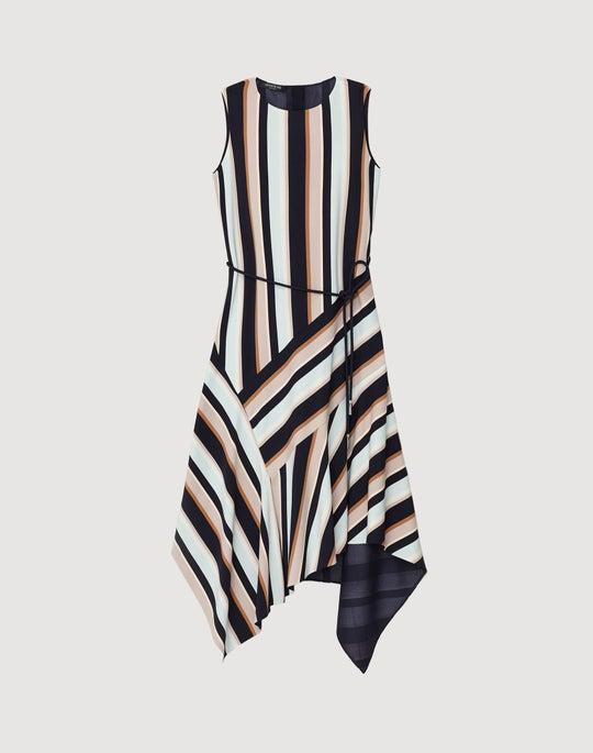 Moderne Stripe Drape Cloth Marnie Dress