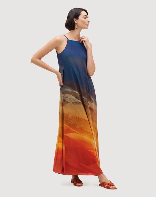 Textured Desert Print Crepe Maxi Leonissa Dress