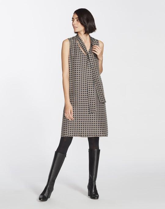 Distinct Dot Print Silk Ronan Dress