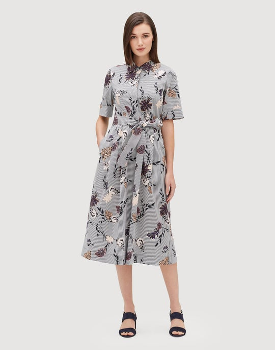 Petite Artisan Bouquet Stretch Cotton Eleni Shirtdress