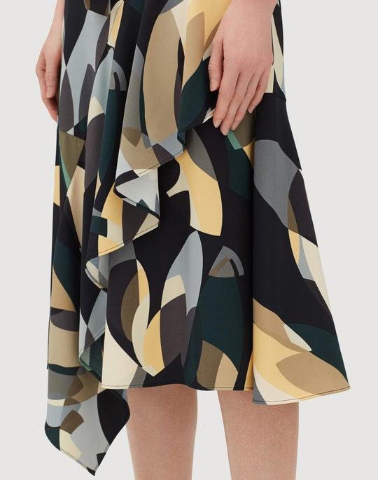 Plus-Size Ornamental Mosaic Drape Cloth Telson Dress