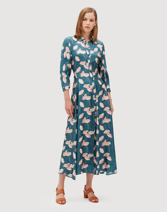 Graphic Floral Silk Siya Dress