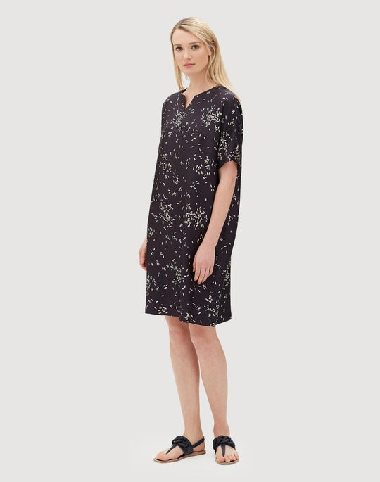 Decorative Dashes Silk Twill Thoren Dress