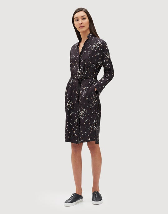 Petite Decorative Dashes Silk Twill Calleigh Shirtdress/Duster