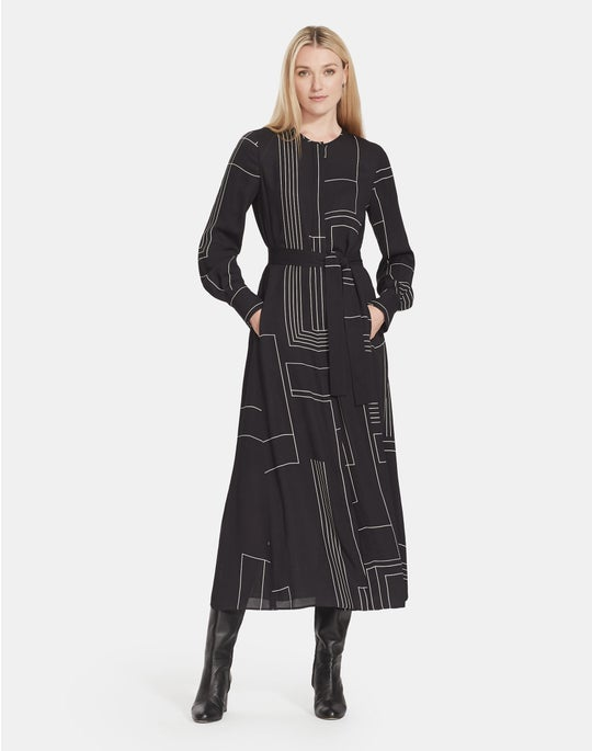 Petite Linking Lines Print Drape Cloth Coleen Dress