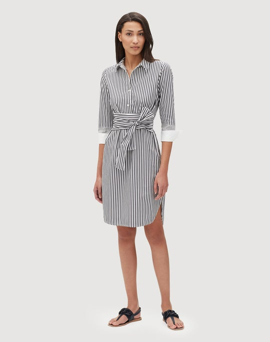 Petite Saxony Stripe Fabiola Dress