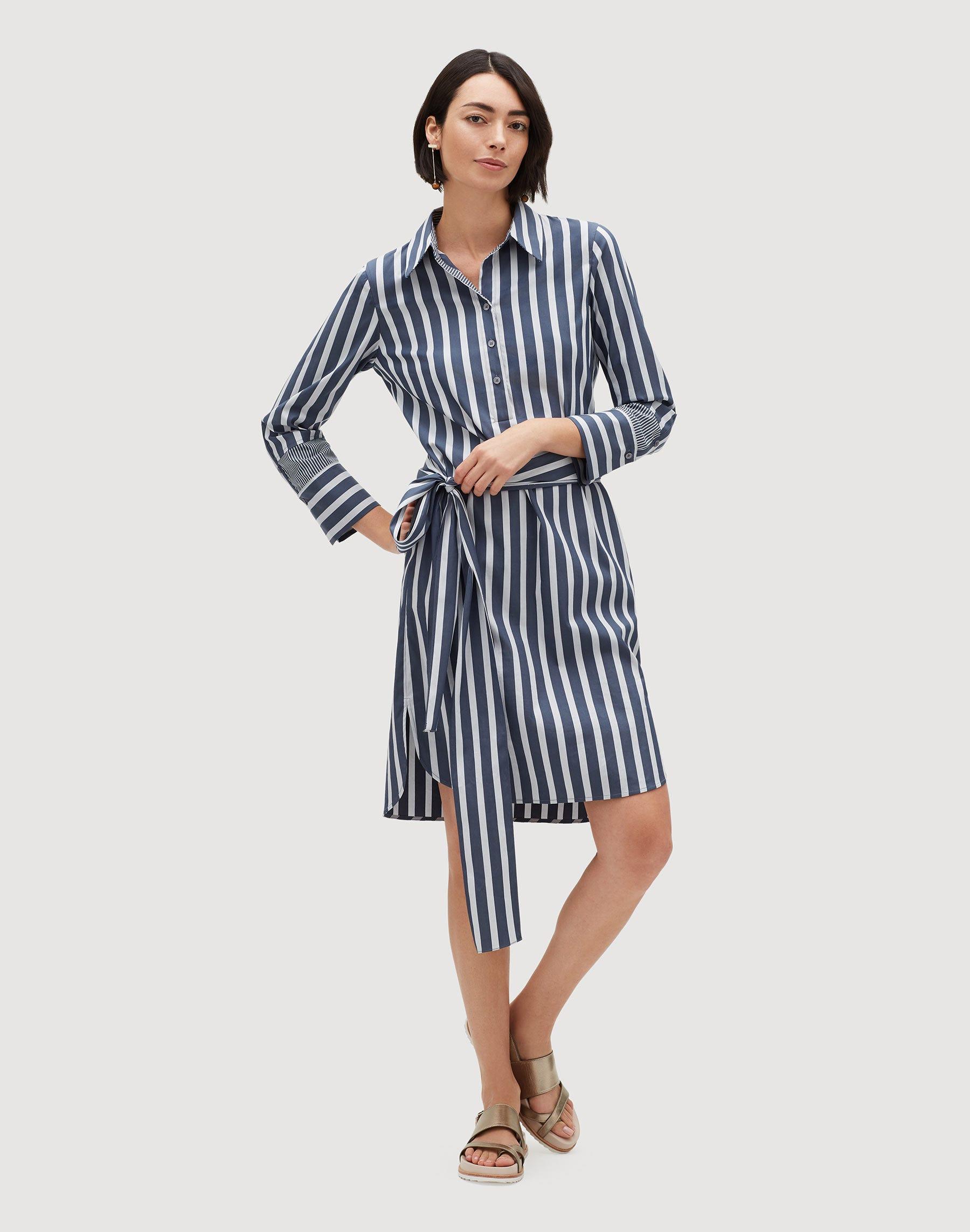 Plus-Size Twilight Stripe Fabiola Shirtdress | Lafayette 148 New York