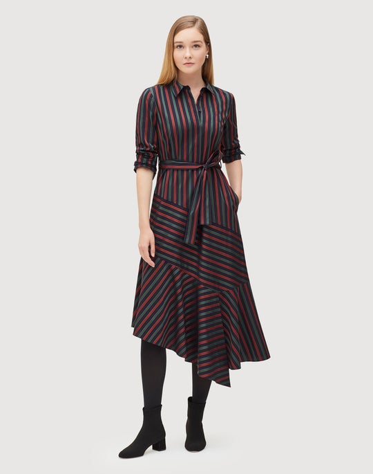 Stylized Satin Stripe Shirting Adele Dress