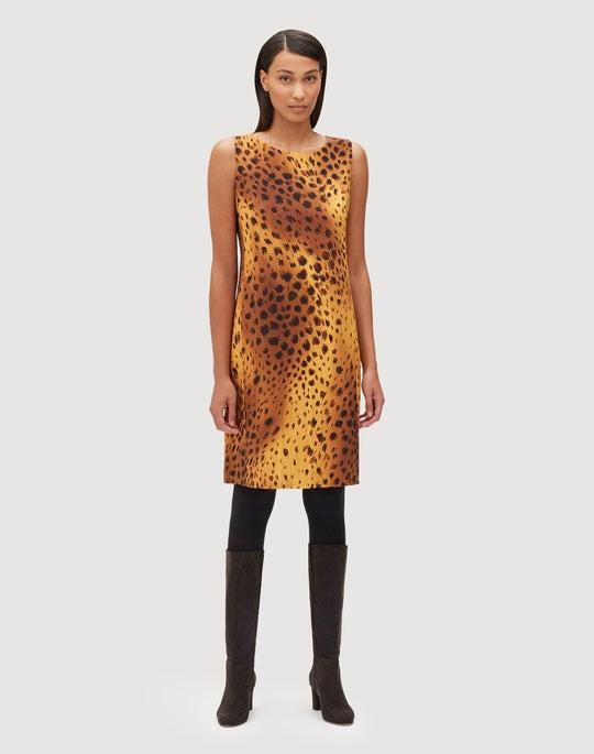 Trailblazer Leopard Stretch Wool Reversible Bibiana Dress