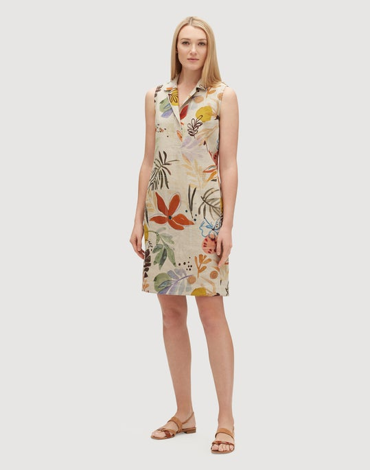 Petite Fiore Print Linen Rudy Dress