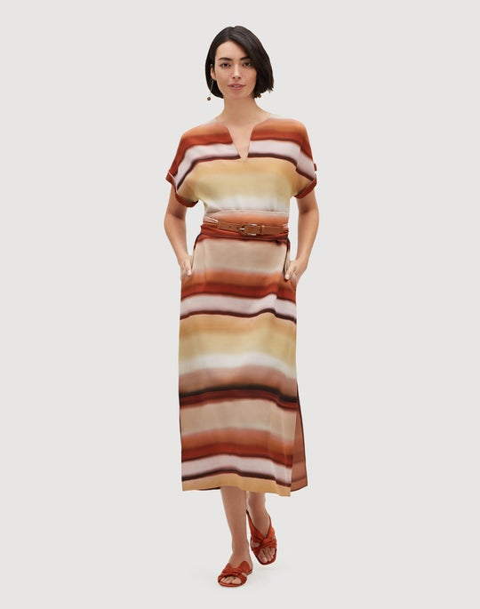 Sunrise Watercolor Print Drape Cloth Cosimia Dress