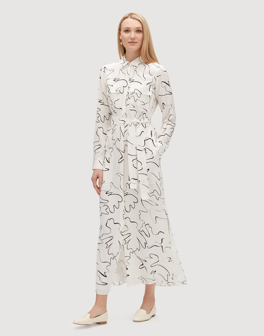 Scribble Print Silk Doha Dress