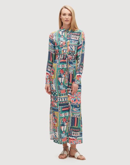 Palazzo Patchwork Print Crepe Maxi Doha Dress