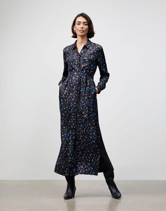 Small Scattered Dot Print Long Doha Shirtdress