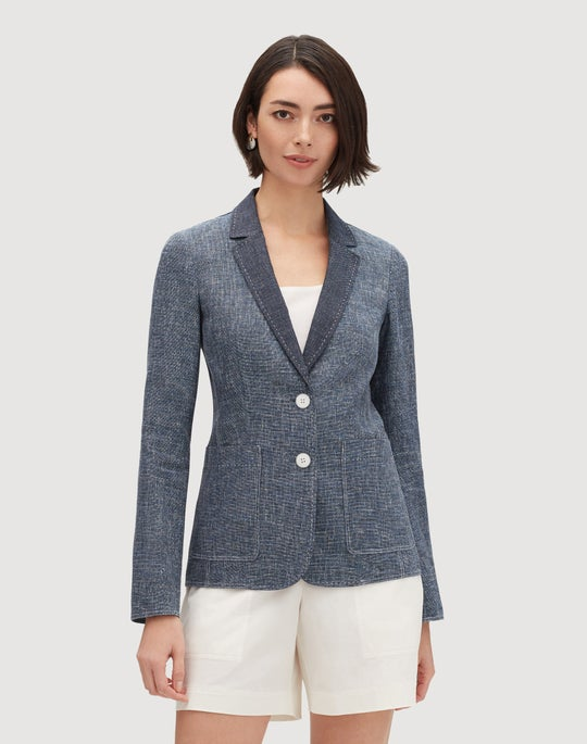 Petite Sublime Space Dye Cotton-Linen Vangie Jacket