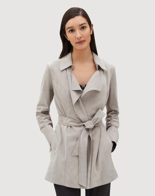 Plus-Size Luxuriant Lambsuede Hadley Trench